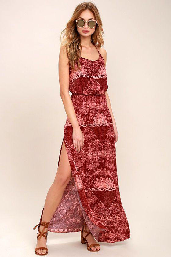 O neill long dress burgundy