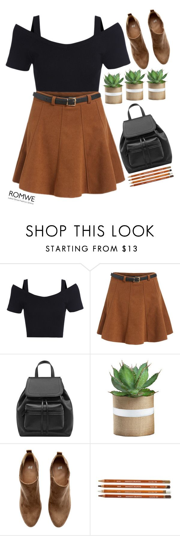 """#Romwe"" by credentovideos ❤ liked on Polyvore featuring H&M"
