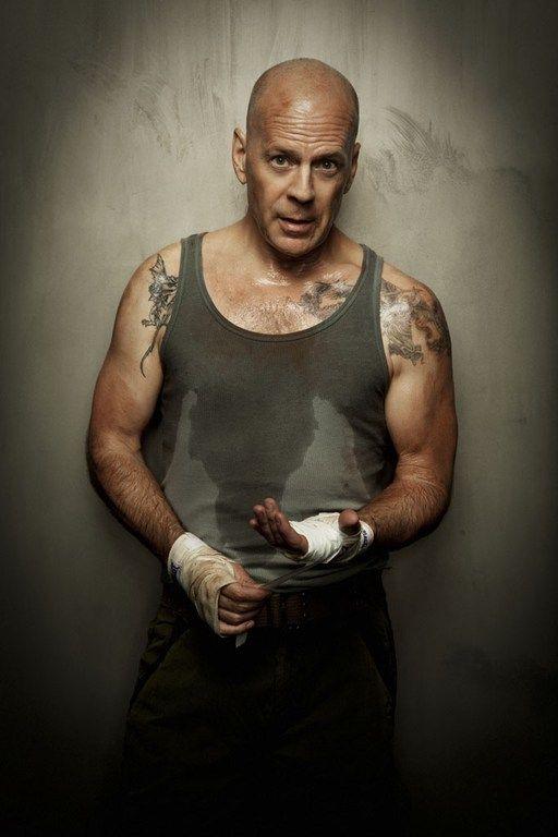 Bruce Willis by Jim Wright. Male actor, action hero, movie star, hot, body art, macho, celeb, portrait, photo