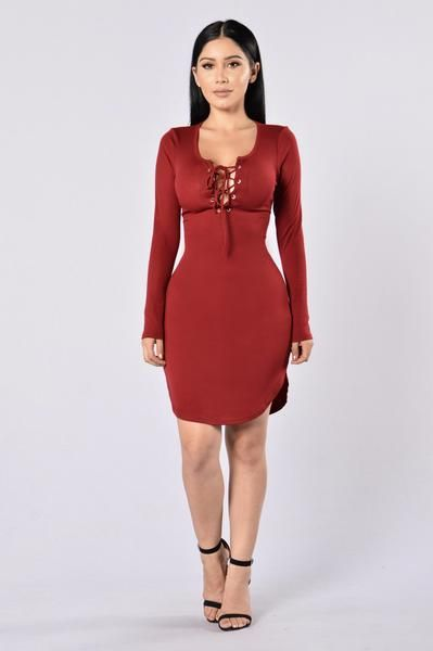 Friday Night Fever Dress - Burgundy