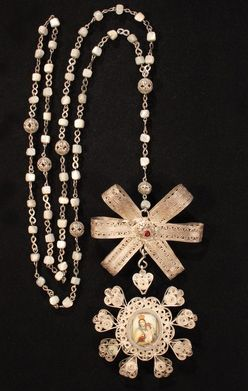 Mother of Pearl and Gold Filigree rosary.  Spanish 17th or 18th century.