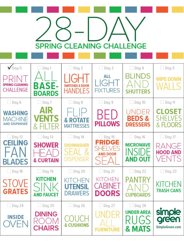 "It's spring and that means it's time to clean stuff you forgot to clean every other day of the year. Here's a game... see if you can complete this 28-day Spring Cleaning challenge! ""Click"" to learn how to clean each of these tasks..."