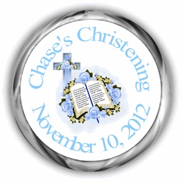 Blue Bible Personalized Baptism Hershey Kisses Labels