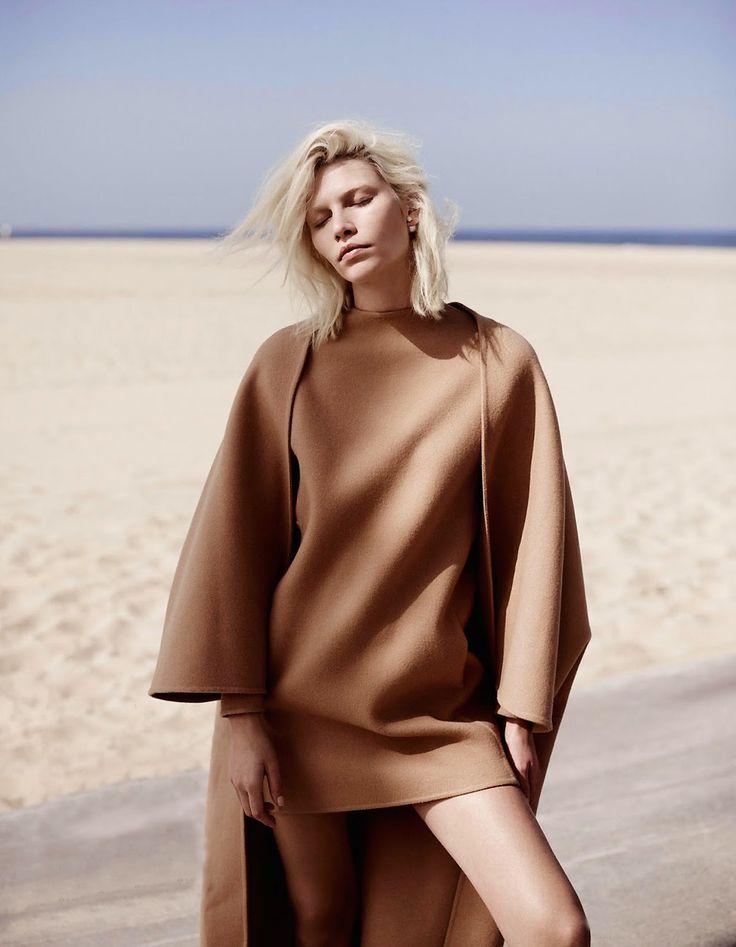 Vogue Netherlands July 2014 Fashion magazine Aline Weber Webber Annemarieke Van Drimmelen Photographer beach editorial coat pink camel overa...