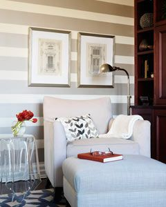 A reading nook.: Feature Wall, Dream, Living Room, Reading Corner, Reading Nooks, Striped Walls, Stripes, Accent Walls