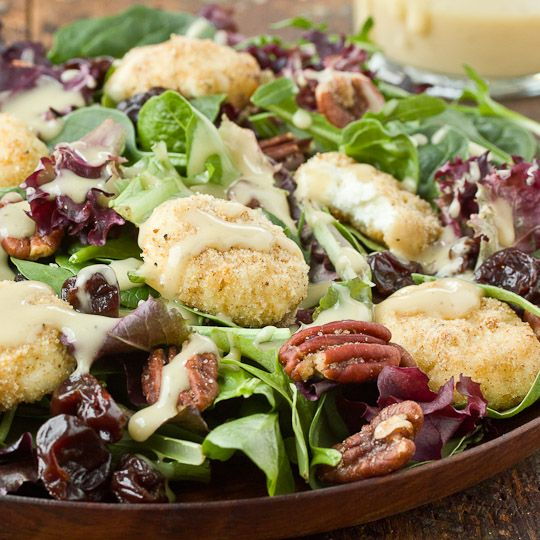Baked Goat Cheese Salad with Creamy Walnut Vinaigrette