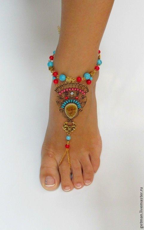 Купить Браслеты на ножки Coral - браслет на ногу, браслет на ножку, пляжный аксессуар, пляжное украшение