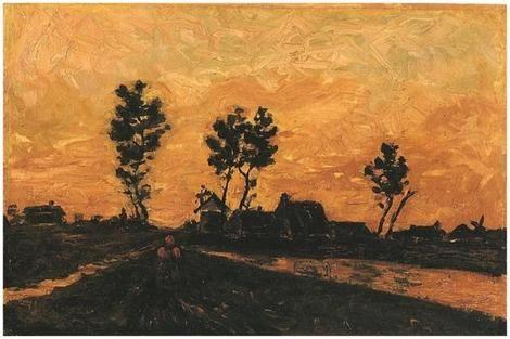 Vincent van Gogh, Landscape at Sunset, 1885 on ArtStack #vincent-van-gogh #art