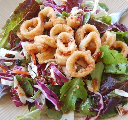 Marinated asian calamari salad