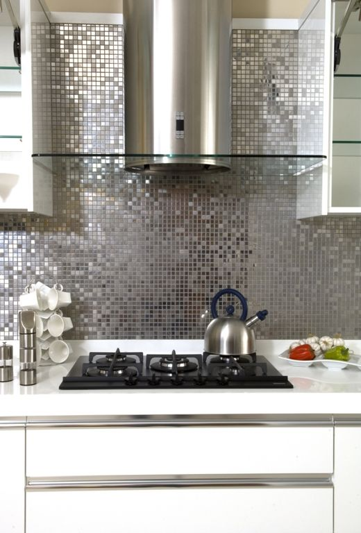 Shiny Silver Mosaic Used As Splash Back In Kitchen In