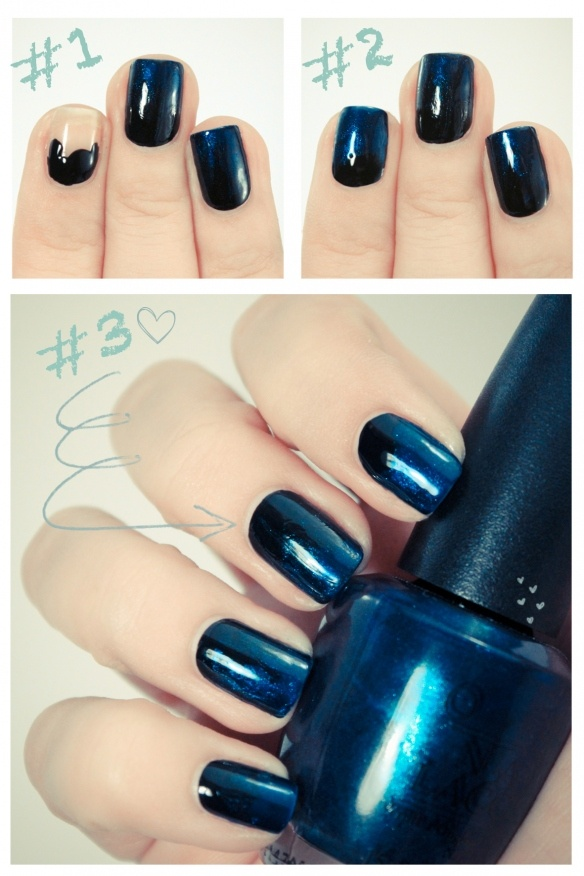 layer a darker shade toward the base of three nail bed. then a coat of the color for the rest of three nail