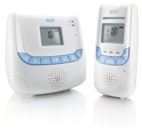 NUK Babyphone Eco Control+ DECT 267 mit Full Eco Mode; 100% frei von hochfrequenter Strahlung im Stand-by; mit Display, Schlaflieder und Nachtlicht