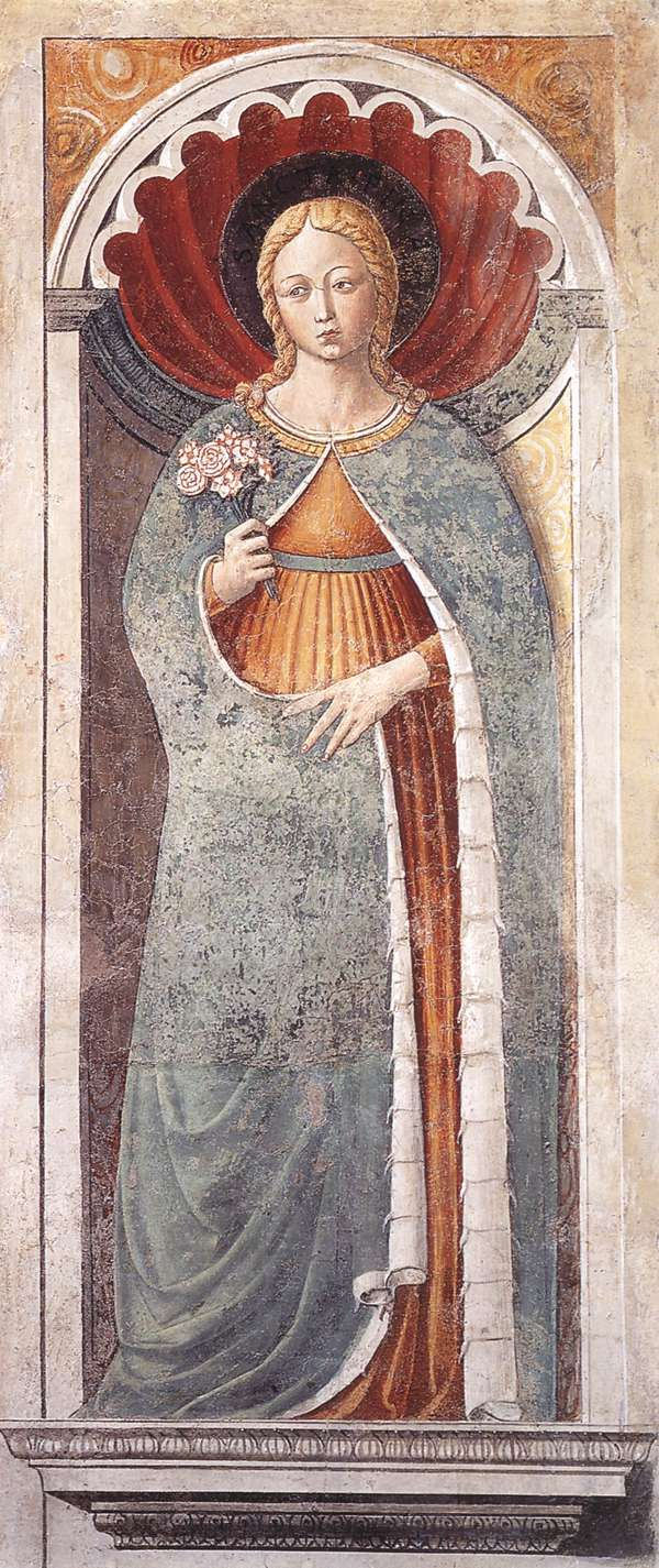St Fina (on the pillar). 1464-65 Fresco Apsidal chapel, Sant'Agostino, San Gimignano.
