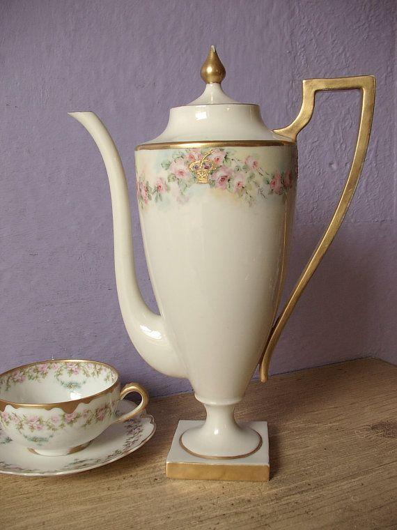 Antique 1870's Willets Belleek Chocolate pot, Antique teapot, hand painted pink roses teapot, Victorian teapot, Porcelain coffee pot