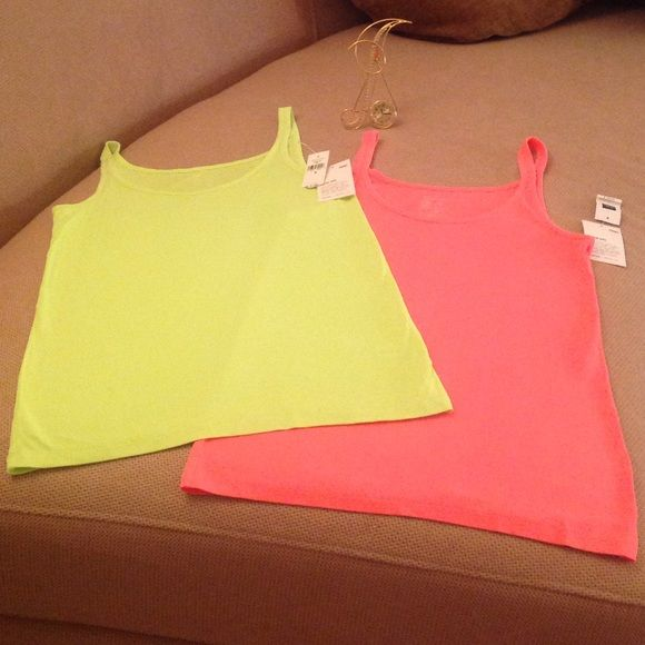 GAP -  Two (2) Neon Dyed Essential Cami's Two for the price of one Gap Cami's. New with tags attached. Beautiful neon colors in size medium. Ultra soft and long enough to tuck in or leave out. Both are in excellent condition  GAP Tops Camisoles