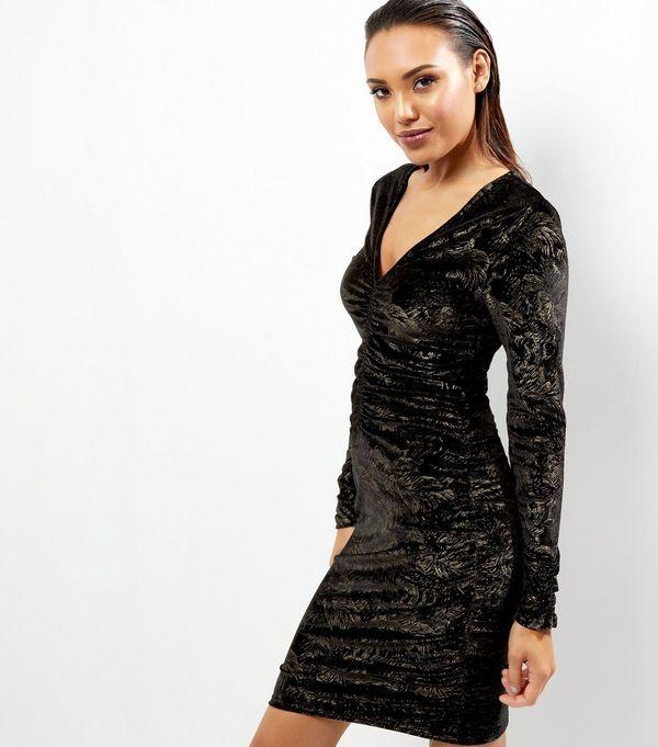 Black Velvet Gold Foil Ruched Front Bodycon Dress | New Look