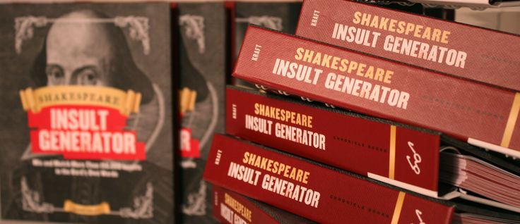 Need to insult someone in a Shakespearean way? Mix and match more than 150,000 insults in the Bard's own words with this flip book style insult generator by Barry Kraft.  #Shakespeare