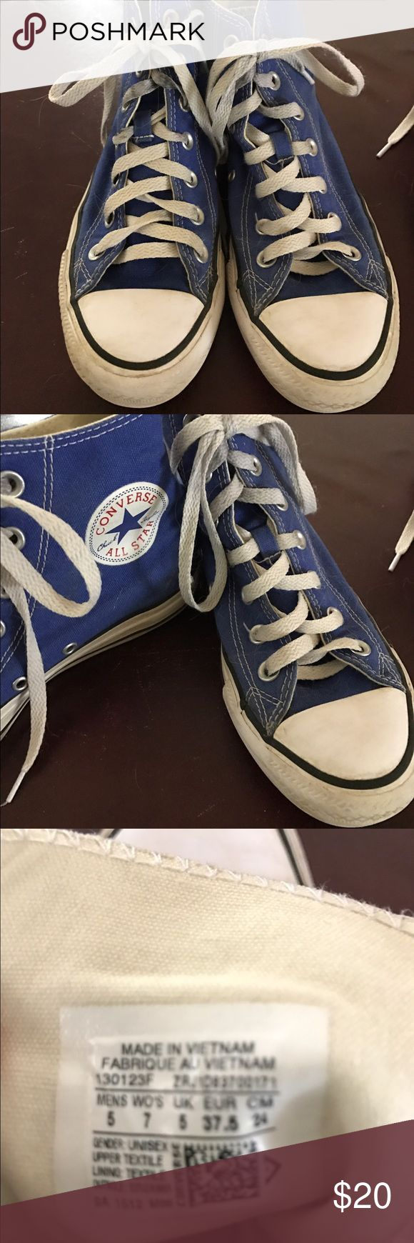 Blue Converse high tops size 7. These converse high tops are so cute with jeans, shirts or skirts. Women's size 7. Converse Shoes Sneakers