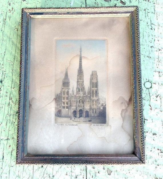 Antique French Cathedral Engraving Etching by VintageJunkInMyTrunk