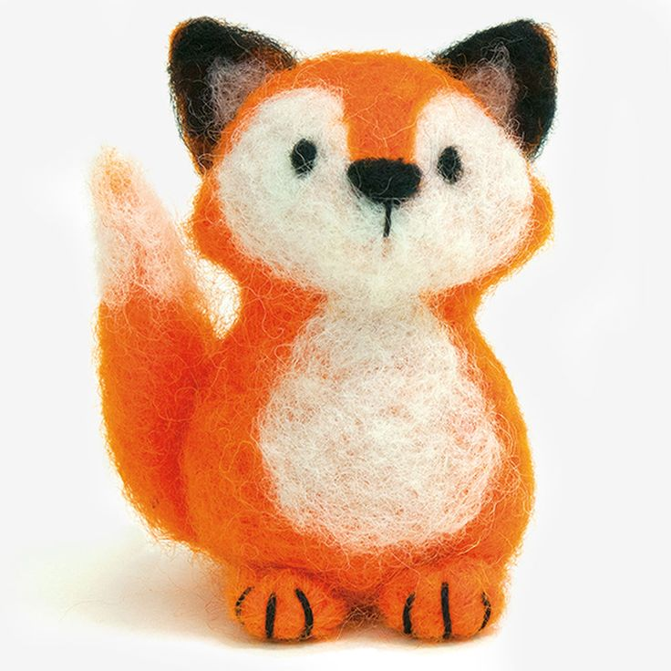 """Dimensions lets you create 3-D creatures with our fun needle felting kits—easy enough for a beginner! You can make this sweet yet sly Fox using easy freeform needle felting techniques and simple embroidered details. No molds needed! Finished size: 3.5"""" x 2.5"""". Needle felting kit includes: • 100% wool roving• Felting needle• Felting mat• Cotton thread• Embroidery needle• Easy photo-illustrated instructions"""