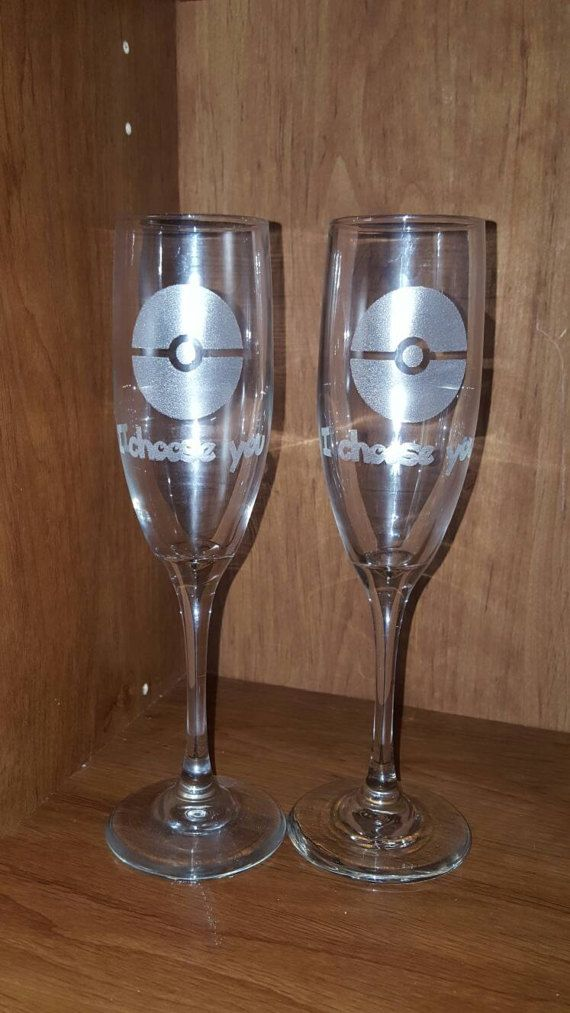 "Laser Engraved Pokémon Inspired ""I choose you "" Champagne Flutes ~ Wedding Glass ~ Geek Wedding ~ Newlywed Gift"