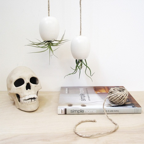 Air plants are my fav.Hanging Airplant, Hanging Plants, Ceramics Planters, Hanging Air Plants, White Hanging, Airplant Pods, Design, Plants Pods, Matte White