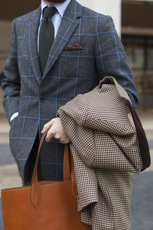 This is not a well-tailored jacket. Proper fit is important in any outfit, but if you're going to wear heavier fabrics in bold patterns, proper fit is essential.