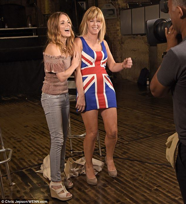Spicy! Kate Garraway, right, wore a replica of Geri Horner's iconic Union Jack dress during an interview with the former Spice Girl, which was aired on Good Morning Britain on Friday