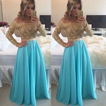 Blue Long A-line Off-the-Shoulder Chiffon Prom Dresses 2017