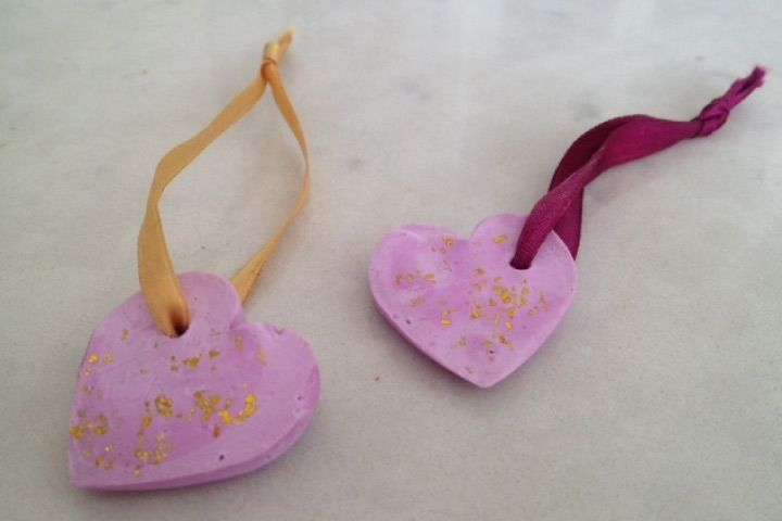 Plaster of paris crafts for kids - Heart Charms