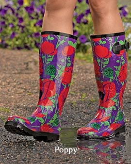 Purple wellies with red poppies.  love love love!
