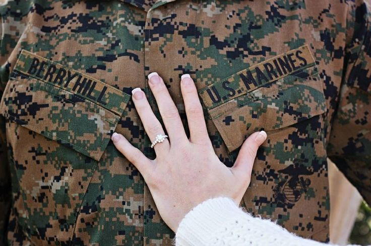 Marine corps love. But have her standing behind so the arm isn't so awkward