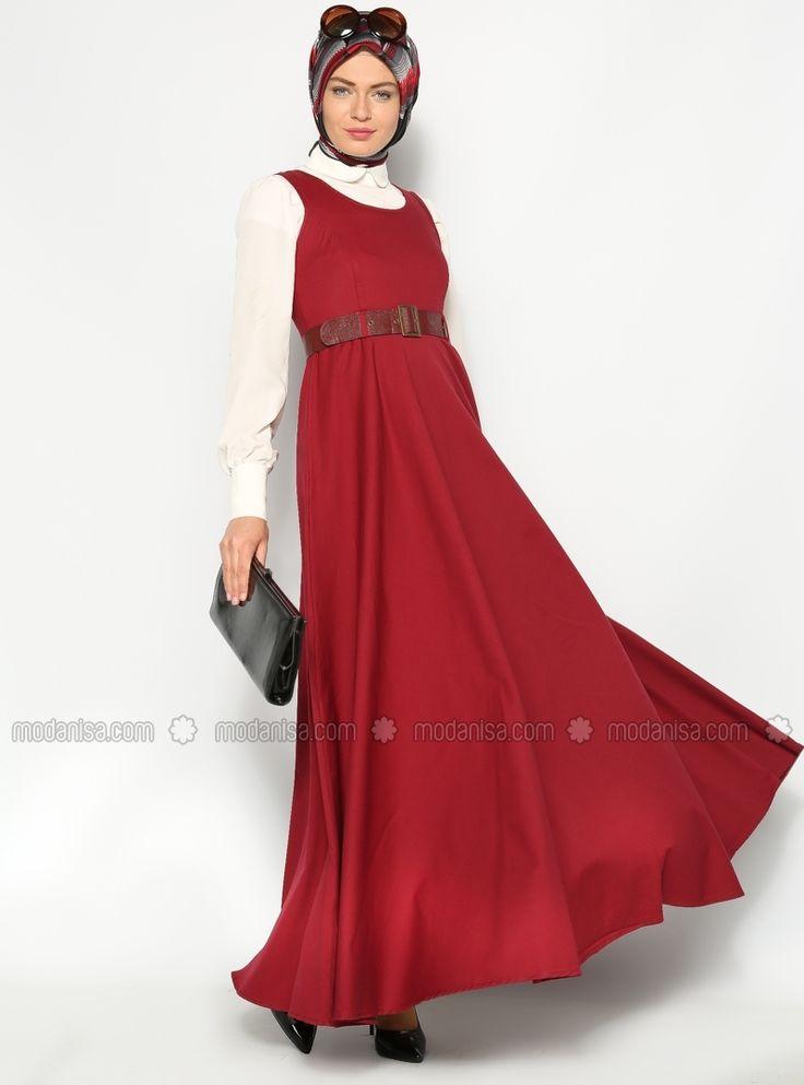 Kemerli Jile Elbise - Bordo - Sultan- ı Yegah