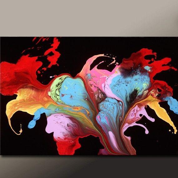 Astratto stampa astratta tela arte contemporanea di di wostudios
