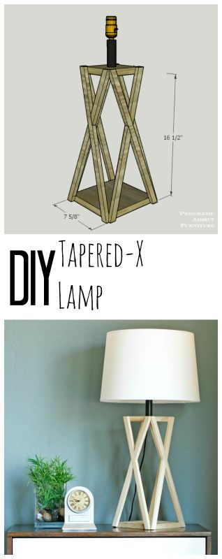I love the geometric shape the X makes! Learn how to build this DIY, trestle style lamp.