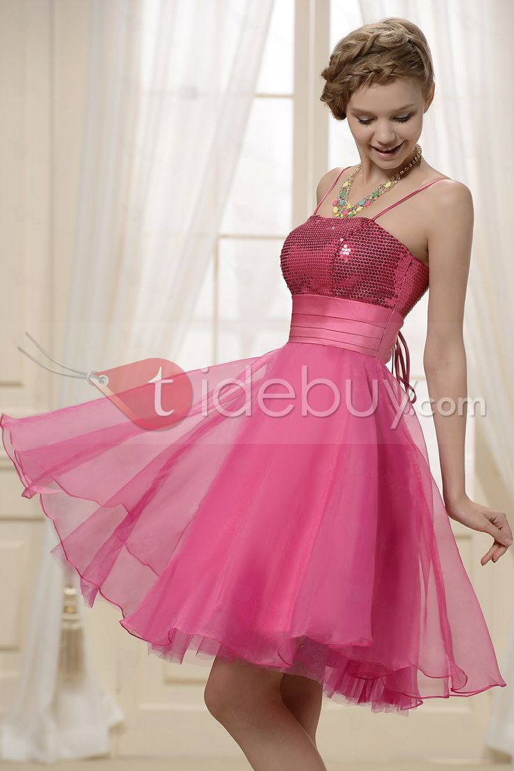 Shining Sequins Lace-up Knee-Length Cocktail/Homecoming Dress : Tidebuy.com
