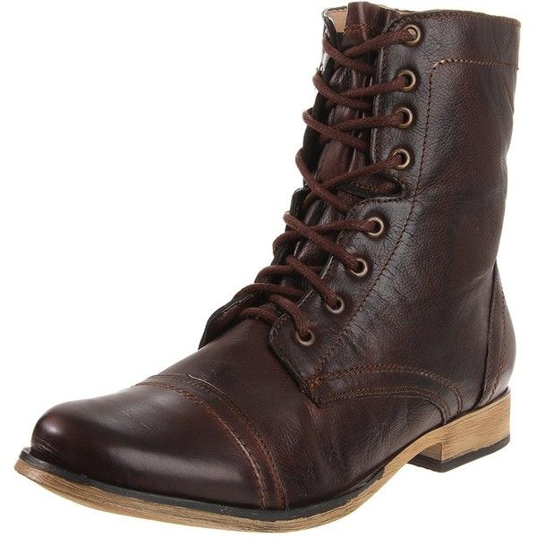 Steve Madden Men's Troopah Lace-Up Boot (320 RON) ❤ liked on Polyvore featuring men's fashion, men's shoes, men's boots, mens lace up boots, mens lace up shoes, mens wide width boots, mens wide width shoes and steve madden mens shoes