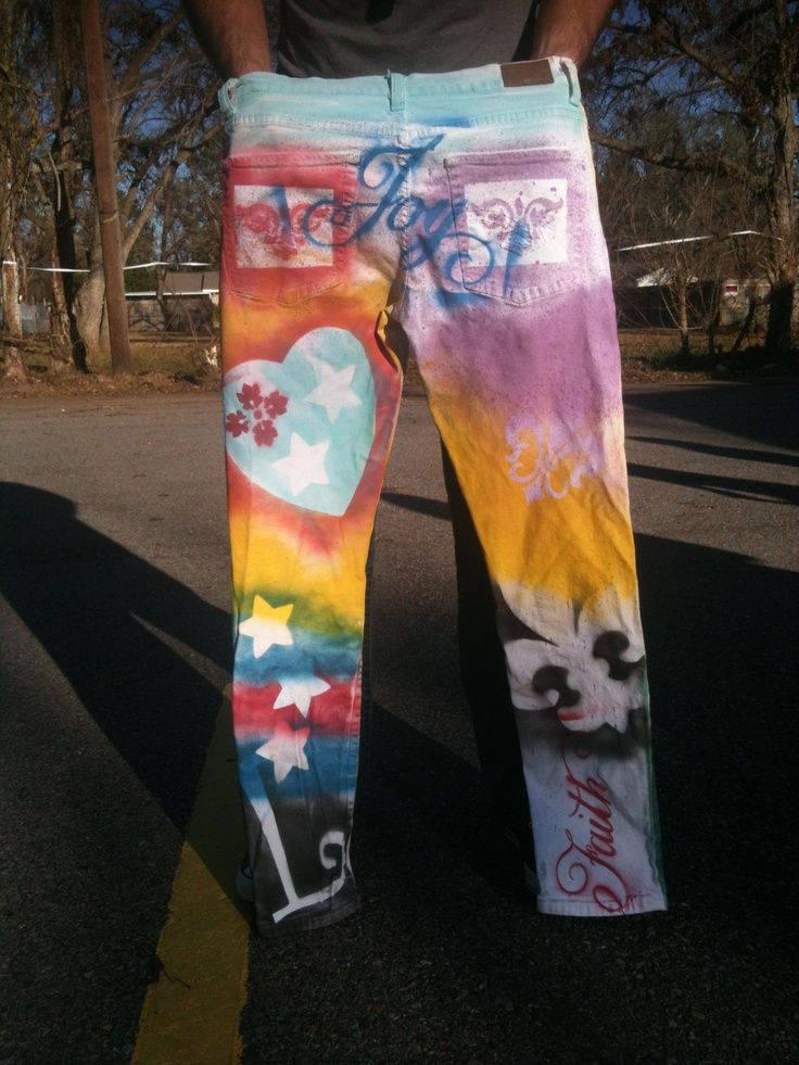 Spray Paint Stencil Designs On White Jeans Fun Clothes