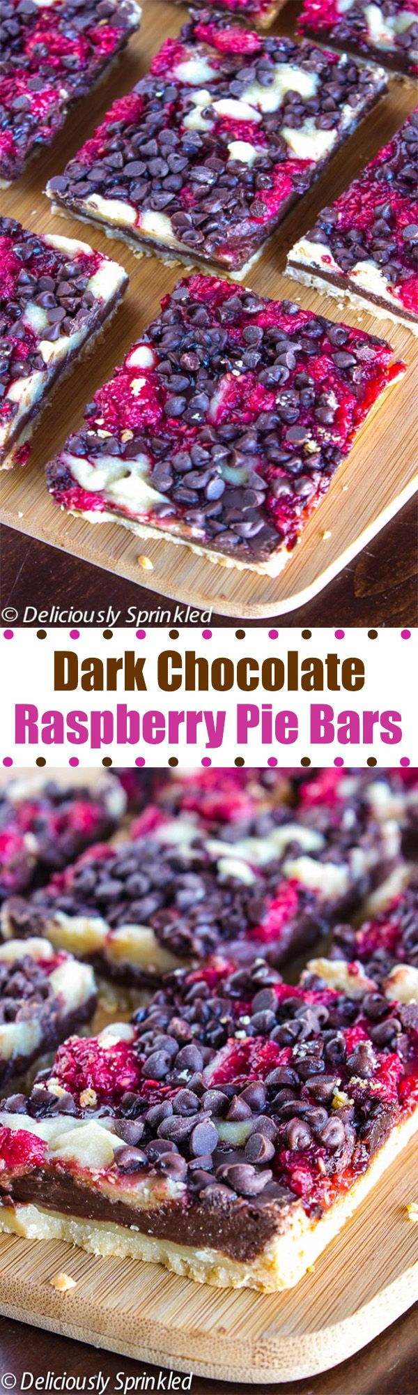 Dark Chocolate Raspberry Pie Bars- a delicious dessert that's super easy to make!  Don't these look absolutely AMAZING?!?!