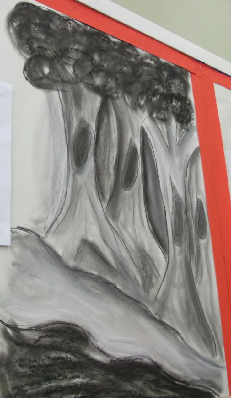 Drawing of trees inspired by book Into the Forest by Anthony Browne. Power of Reading English display.