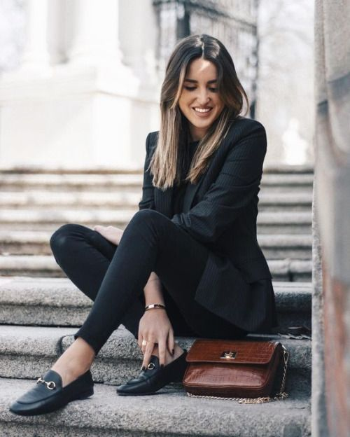 black blazer and loafers