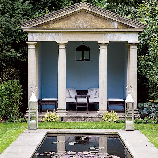 Reflecting pool with Greek revival garden folly
