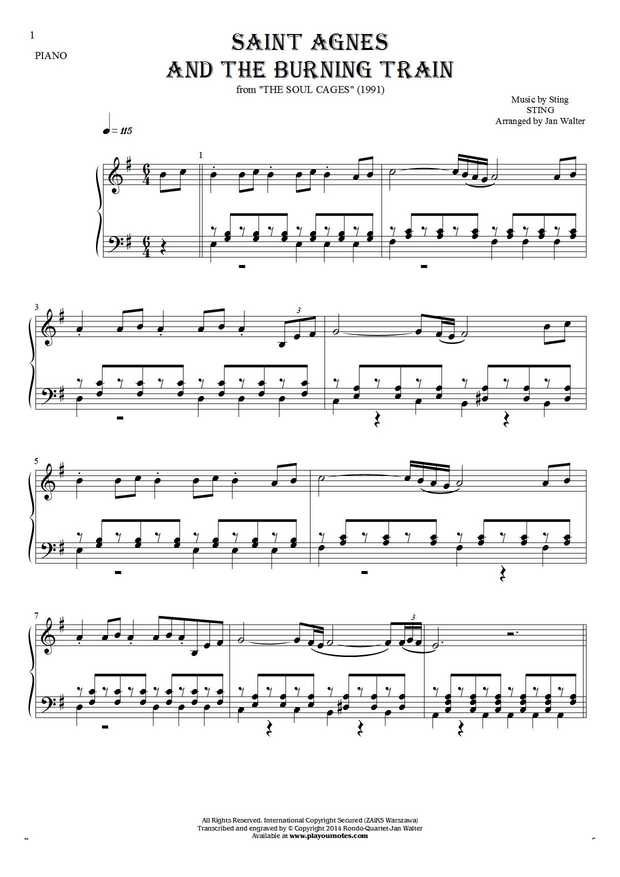Saint Agnes And The Burning Train sheet music by Sting. From album The Soul Cages (1991). Part: Notes for piano solo.