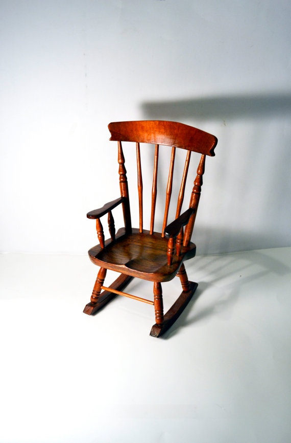 Miniature Wooden Doll Rocking Chair Small Rocking Chair Spindle Country Farm  House Decor