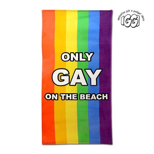 IGGI Rainbow Only Gay On The Beach Towel. Light hearted novelty beach towel.