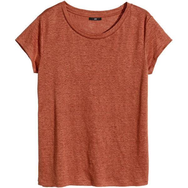 H&M Linen T-shirt ($20) ❤ liked on Polyvore featuring tops, t-shirts, dark orange, h&m, brown tops, linen t shirt, linen tee and h&m tops