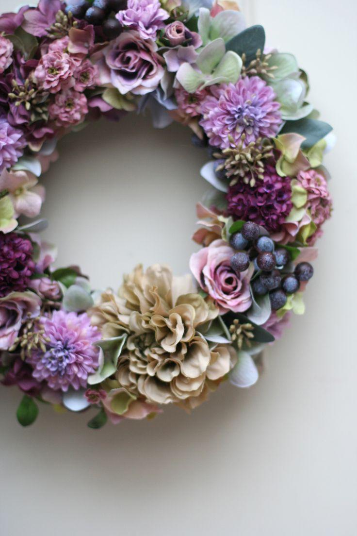 秋色リース Autumn wreath ダリア マム 紫陽花 ローズ Rosa Dahlia