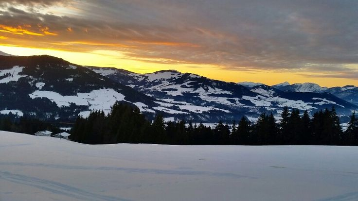 Alte Mittelstation in Westendorf, Tirol. Sunset.