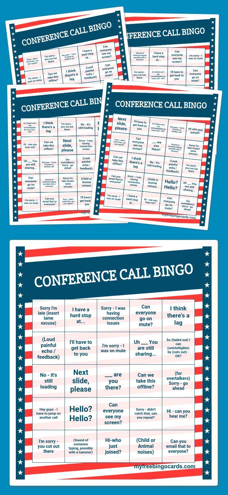 CONFERENCE CALL BINGO Bingo card generator, Free bingo