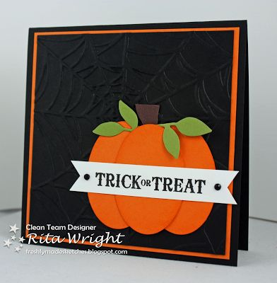 """handmade Halloween card from Rita's Creations ... luv the strong colors of black, white and orange ... background with spiderweb embossed ... paper pieced pumpkin ... """"Trick or Treat"""" in fun font  ... great card! ...Stampin' Up!"""